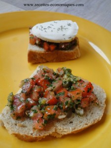 crostini mozzarella tomates