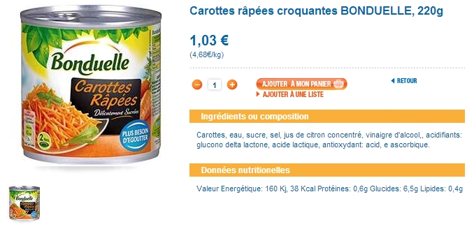 carottes bonduelle