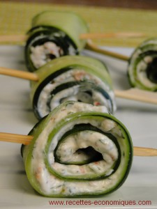 concombre roulé fromage cucumber roll