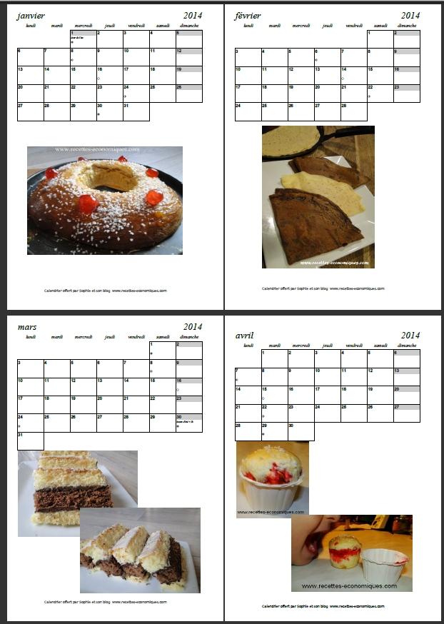 calendrier 2014 recettes economiques - recettes de cuisine ...